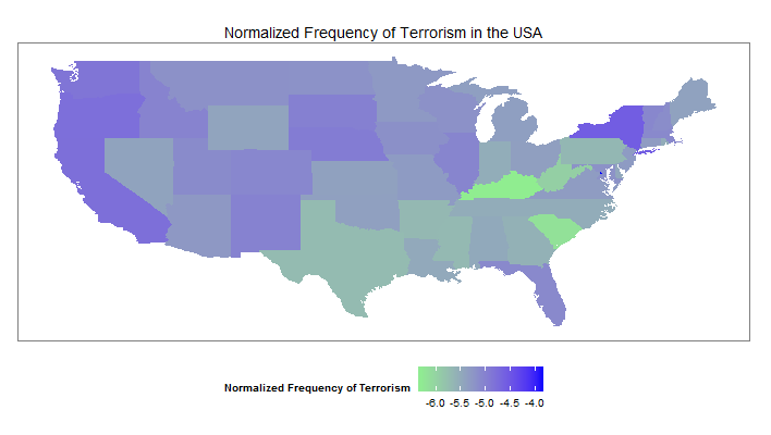 Normalized Frequency of Terrorism in the US